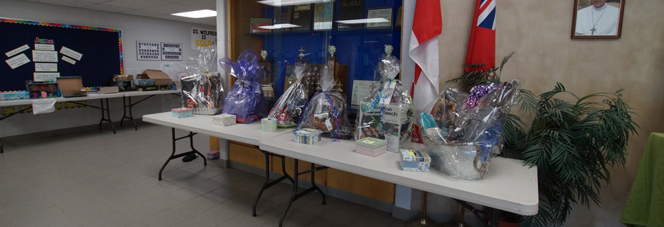Silent auction fundraising gift packages.